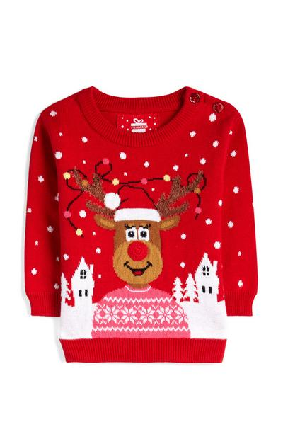 Baby Girl Red Knit Christmas Jumper