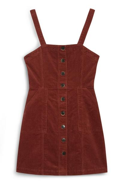 Red Corduroy Bodycon Button Up Dress