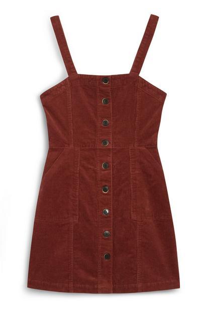 Rotes, figurbetontes Cord-Kleid mit Knopfleiste