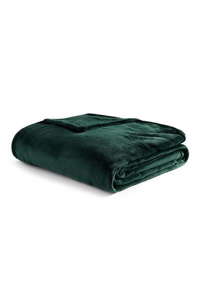 Manta super suave lisa extra grande verde