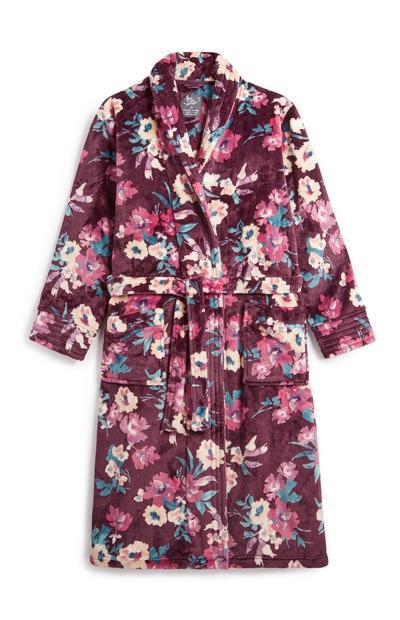 Robe de chambre ultra-douce à fleurs