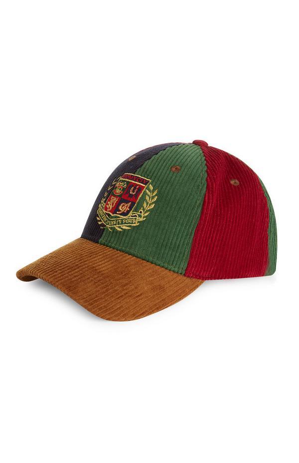 Cappellino in velluto a coste con stemma
