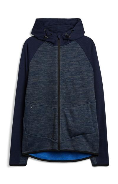 Mornarsko moder teksturiran pulover s kapuco