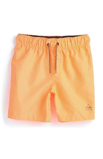 Bañador de color naranja flúor para niño pequeño