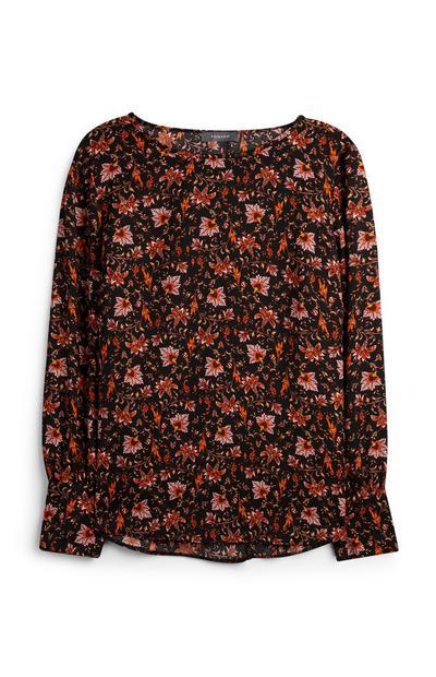 Majica s cvetličnim vzorcem in nabranim hrbtnim delom