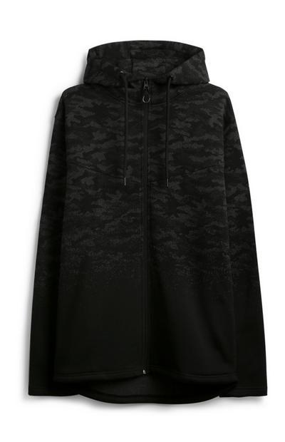 Zwarte hoodie met camouflageprint