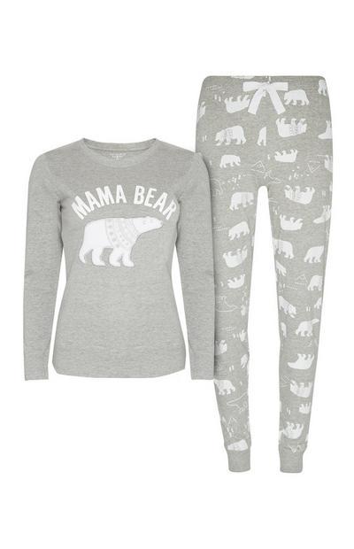 Conjunto de pijama gris de mamá oso