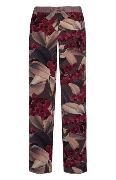 Floral Satin Pajama Pants