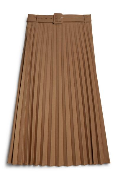 Camel Belted Pleated Midi Skirt