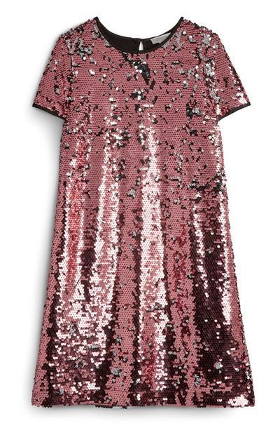 Older Girl Pink Sequin Dress