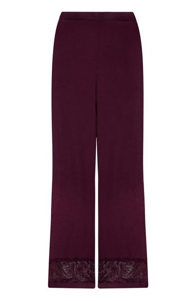 Pantalon violet en satin