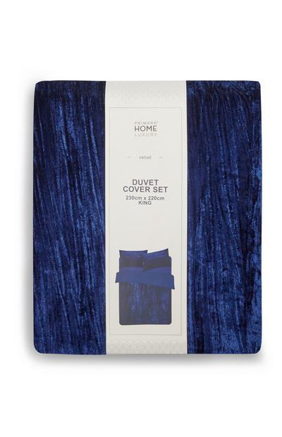 Funda nórdica de terciopelo azul marino para cama de matrimonio
