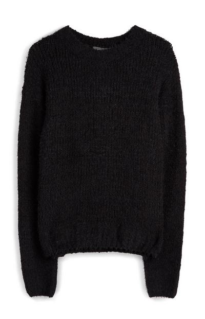 Black Fluffy Chenille Jumper