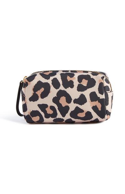 Neceser de maquillaje con estampado de leopardo