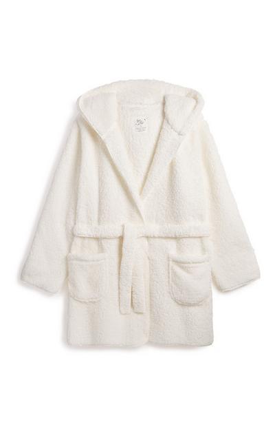 Robe de chambre de luxe crème à ceinture