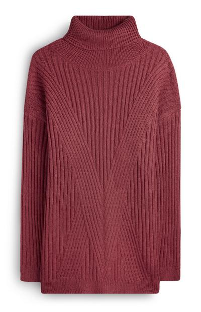 Camisola gola alta cor de vinho