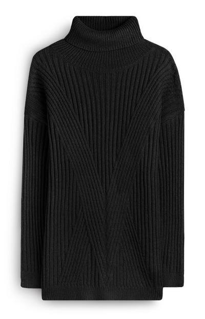 Camisola canelada comprida preto