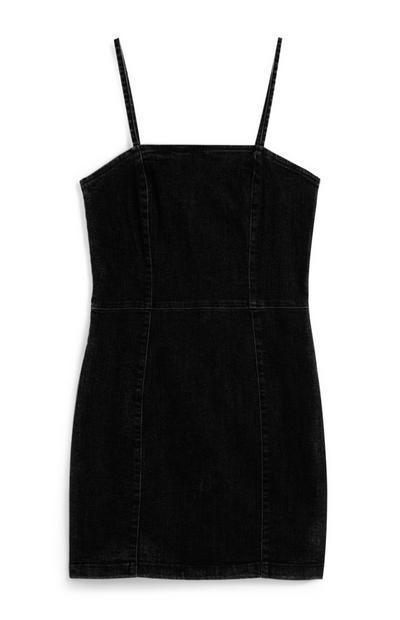 Zwarte denim mini-jurk