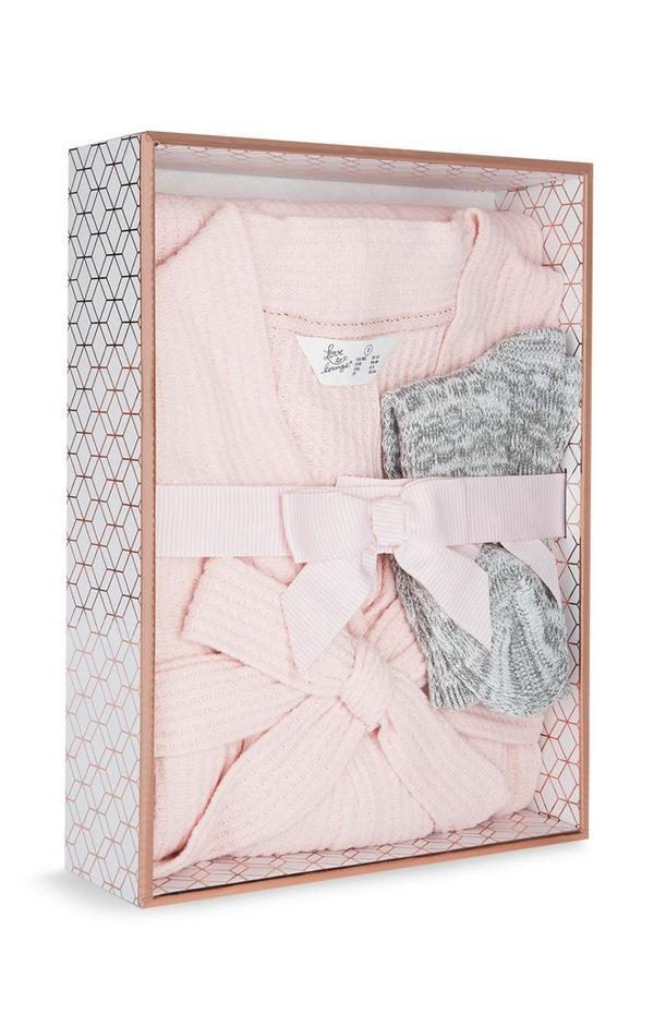 Luxury Pink Waffle Robe and Grey Knitted Socks Gift Box