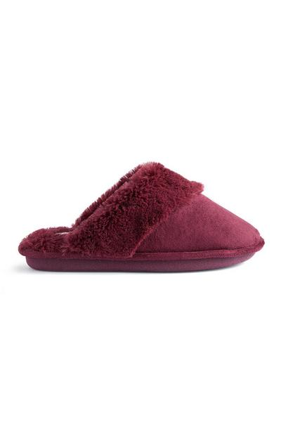 Burgundy Faux Suede Slippers