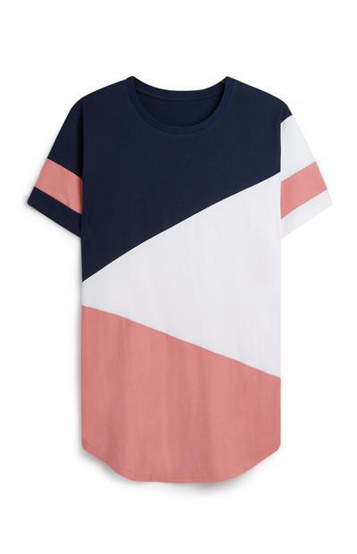 T-shirt à motif color-block diagonal