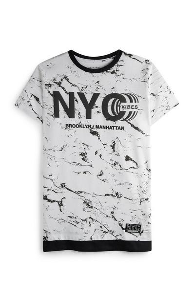 Majica NYC Vibes z marmornatim potiskom za starejše fante