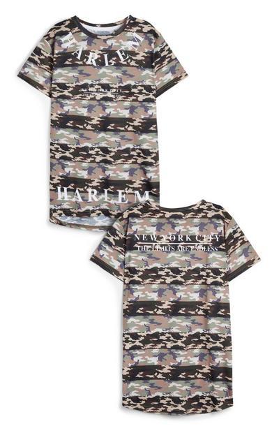 Črtasta majica s kamuflažnim vzorcem za starejše fante