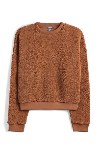 Brown Cropped Fleece Sweatshirt