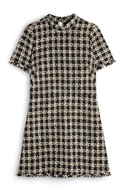 Vestido xadrez tweed preto/branco