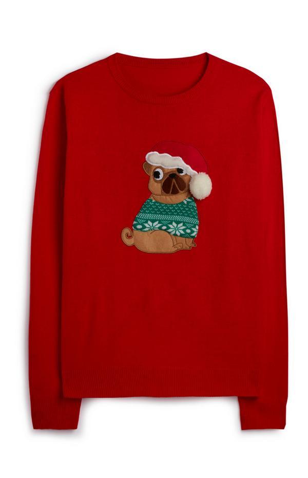 Rode kersttrui met hond