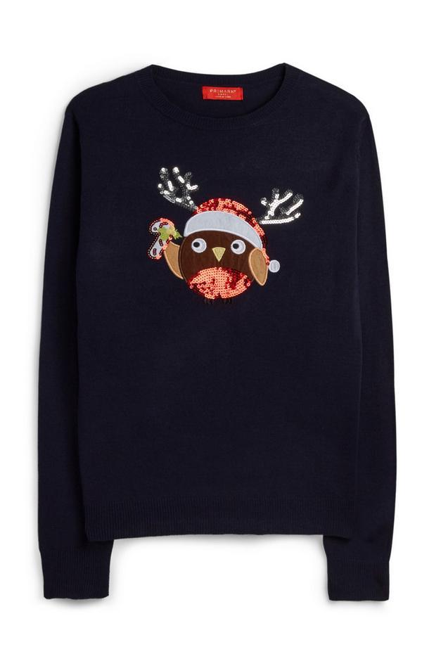 Weihnachtspullover mit Pailletten-Rotkehlchen