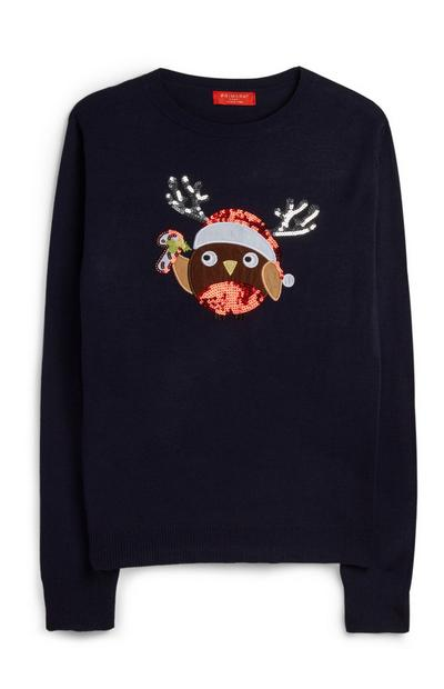 Sequin Robin Christmas Sweater