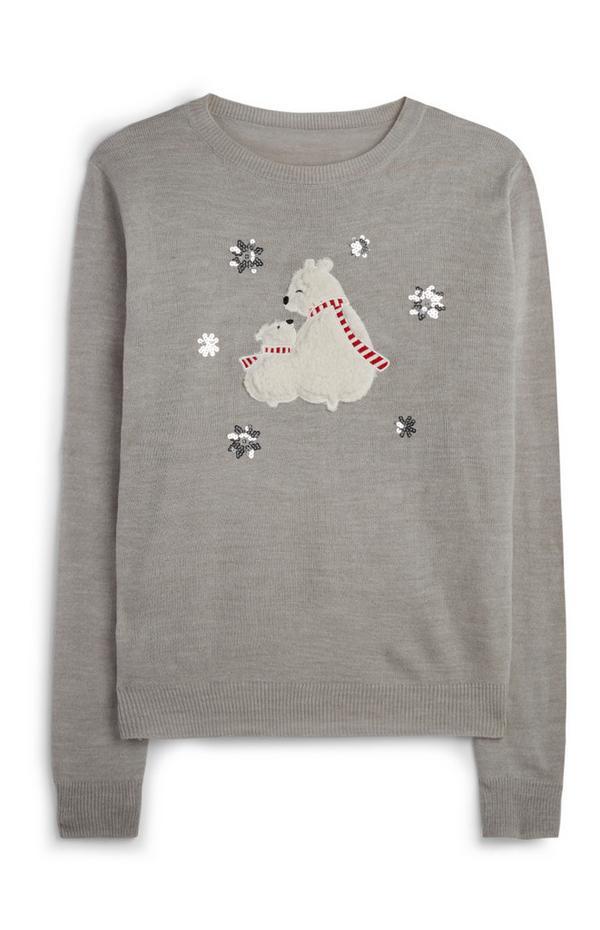 Pull de Noël à motif ours polaire
