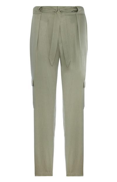 Pantalon cargo kaki à ceinture