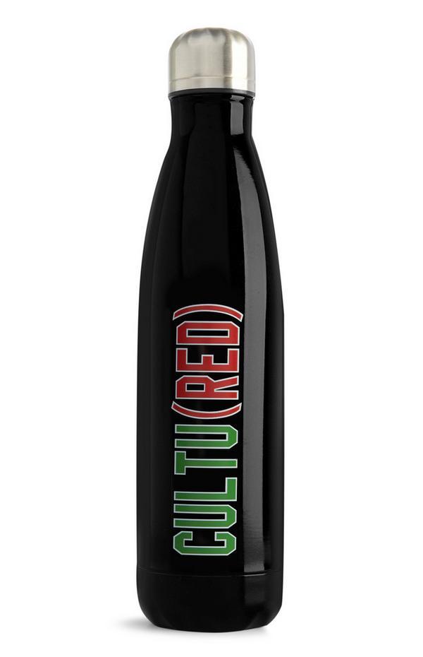 """Schwarze """"Cultured Red"""" Wasserflasche aus Stahl"""