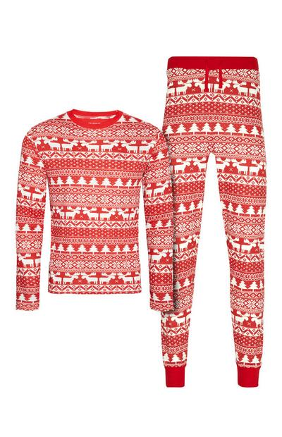 Pyjama rouge à motifs