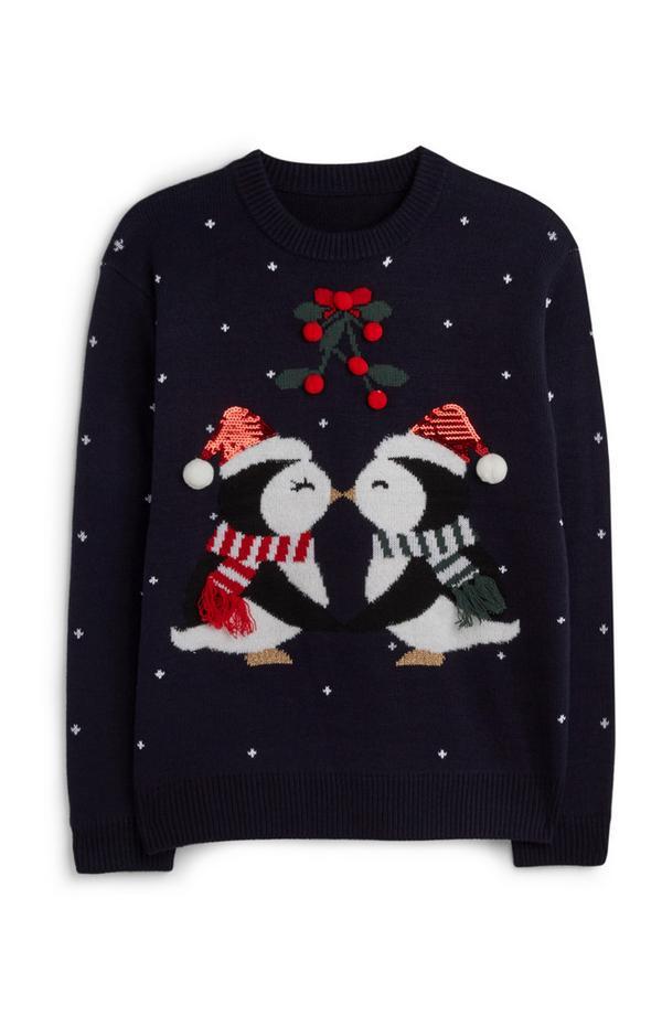 Jersey navideño con pingüinos besándose