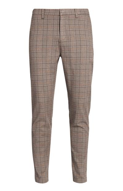 Pantalon marron à carreaux
