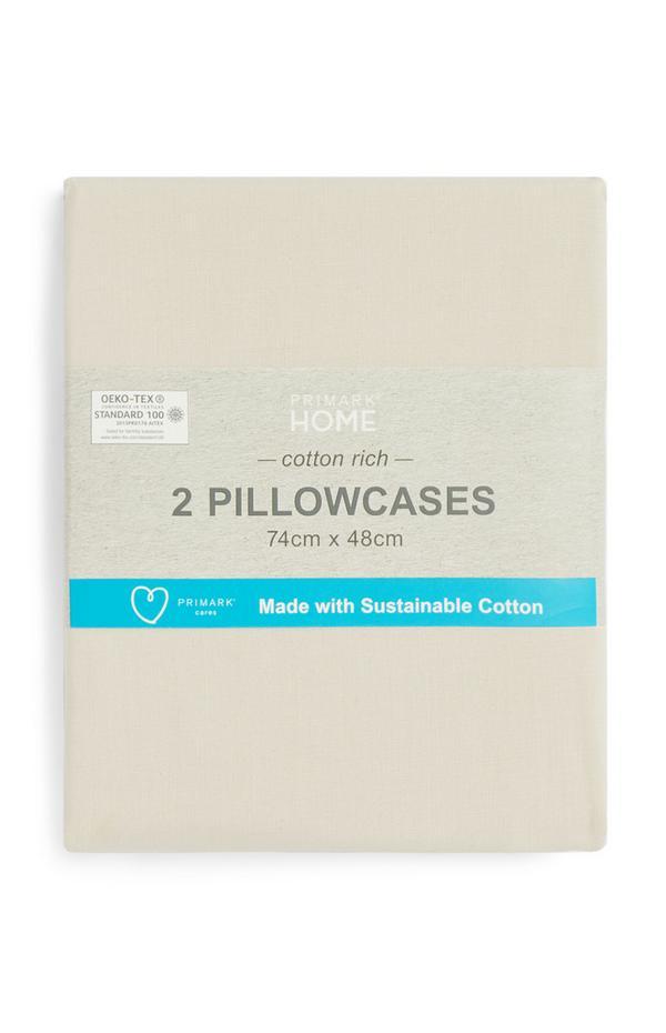 Cremefarbene Kissenbezüge aus Baumwolle, 2er-Pack