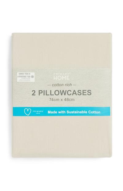 2 federe color panna in cotone sostenibile