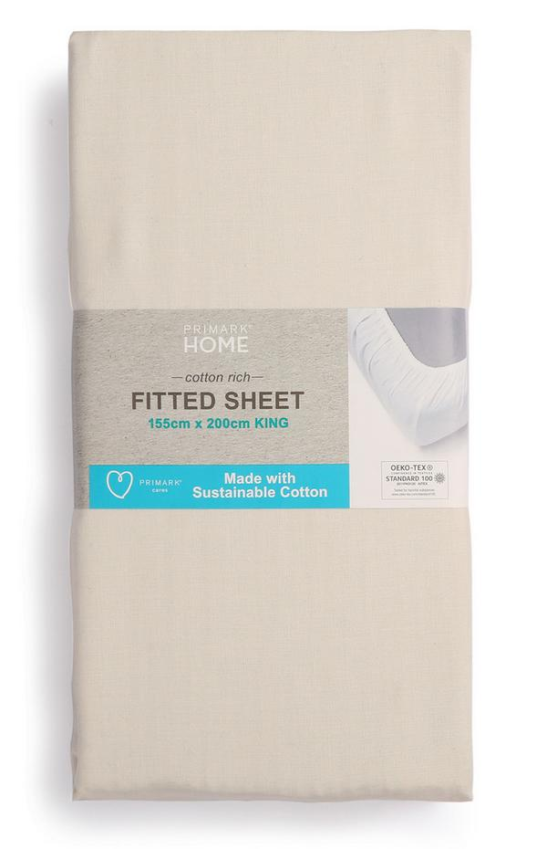 Sábana bajera ajustable de algodón para cama king size