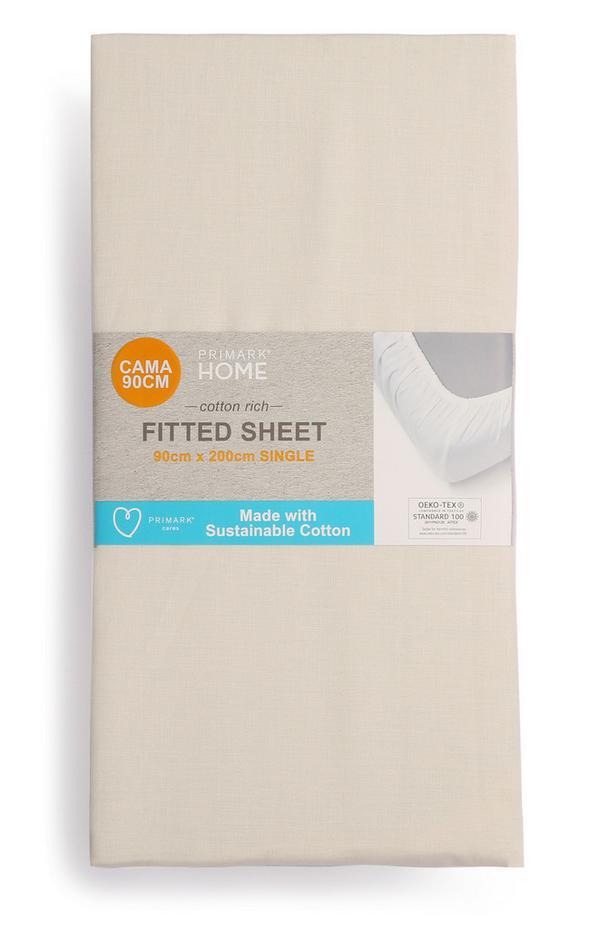 Sábana bajera ajustable de algodón para cama individual
