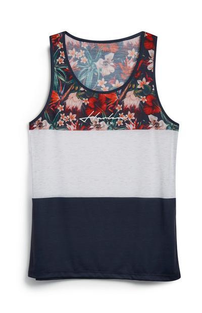 Top s/ mangas bloco cor padrão floral