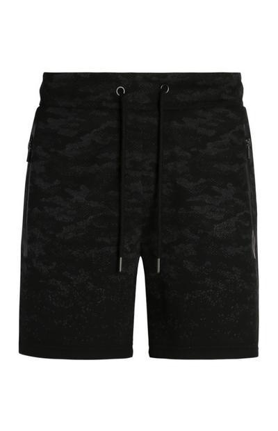 Short noir à imprimé camouflage