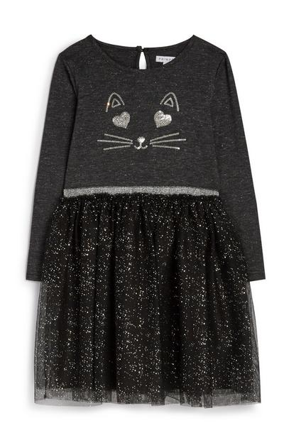 Robe en tulle à motif chat fille