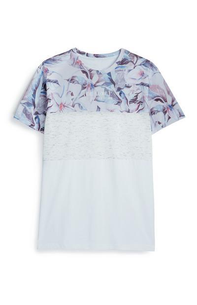 T-shirt padrão floral branco