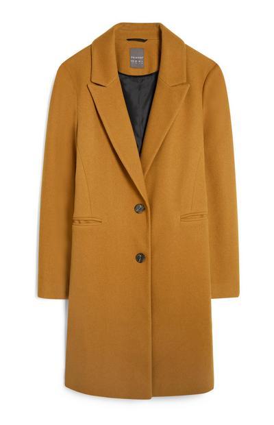 Mustard Single Breasted Coat