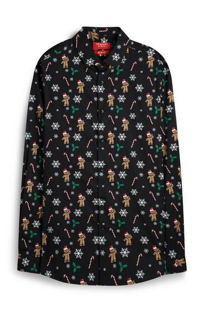 Kerstblouse met peperkoekmannetjes