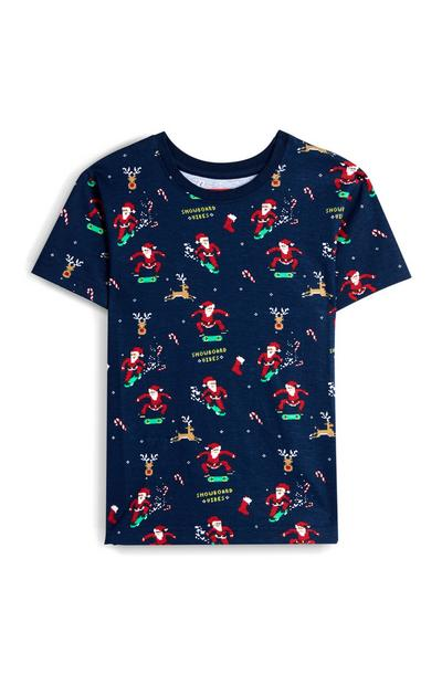 Younger Boy Navy Snowboarding Santa T-Shirt