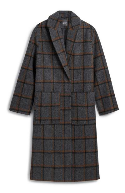 Grey And Orange Check Coat